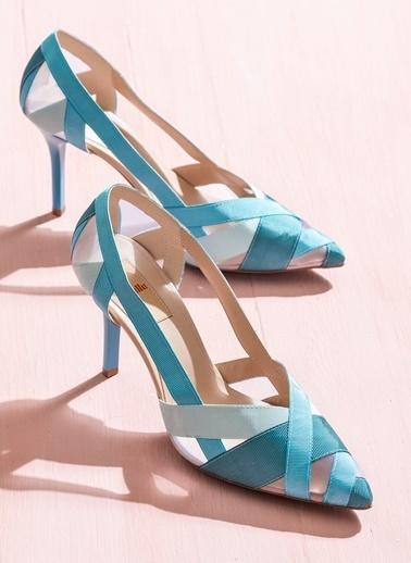 Elle Topuklu Ayakkabı Mavi